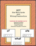 207 Common Site Word Cards with Writing Practice