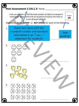 2.0A Assessments - 2nd Grade OA Math Assessments - 2 tests per standard!