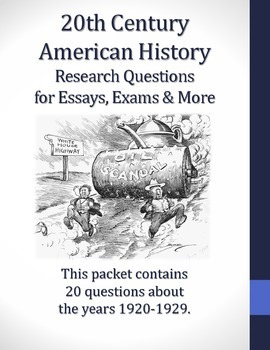 1920-1929 Research Questions for 20th Century American History