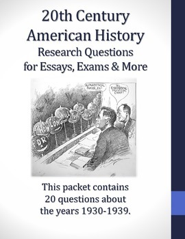 1930-1939 Research Questions for 20th Century American History