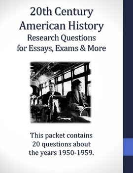 1950-1959 Research Questions for 20th Century American History