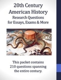 210 Research Questions about 20th Century American History