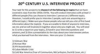 20th Century American History Interview Project