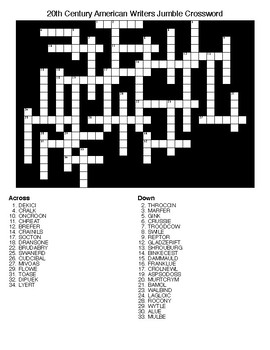 20th Century American Writers Jumble Crossword & Word Search