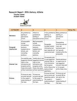 20th Century Athletes Rubric