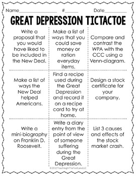 20th Century: Great Depression TicTacToe {US History}