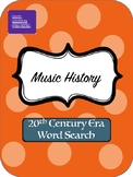 20th Century Music History Word Search