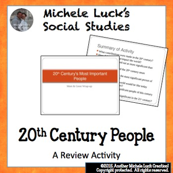 20th Century People Wrap Up Powerpoint for Character Collage Activity