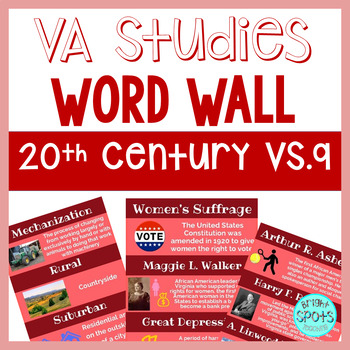 20th Century VS.9 Vocab Word Wall Cards