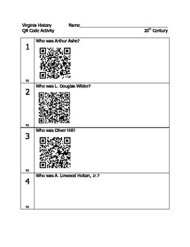20th Century Virginians QR Code Activity for Virginia Studies