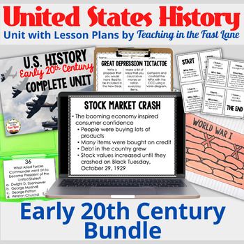 20th Century:WWI, Roaring 20s, Great Depression, WWII Bundle {US History}