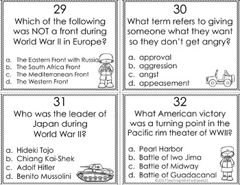 20th Century:WWI, Roaring 20s, Great Depression, WWII Task Cards {US History}
