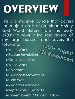 20th Century to Present (MASSIVE Resource Bundle) American and World History