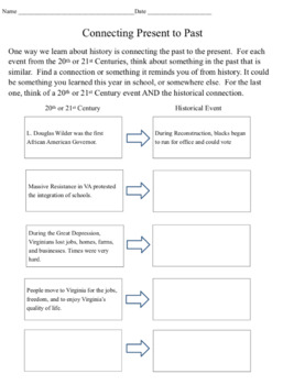 20th and 21st Century Virginia Notes and Activities: SOLs VS 9a-9d