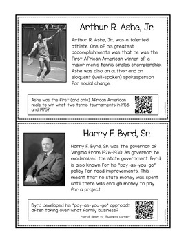 20th and 21st Century Virginians QR Code Cards (VS.9d)