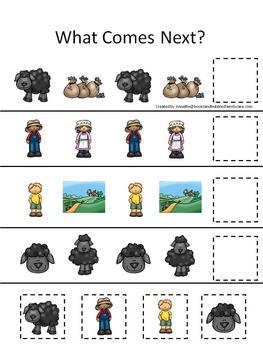 21 Baa Baa Black Sheep themed preschool games and worksheets bundle.