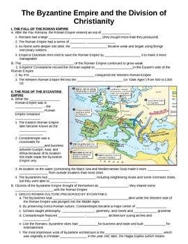 WORLD UNIT 4 LESSON 1 Byzantine Empire & Division of Christianity GUIDED  NOTES