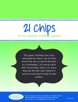 21 Chips   Beginning of the Year Classroom Activity