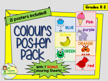 21 Colour Posters for K-2 with bonus colouring pages!