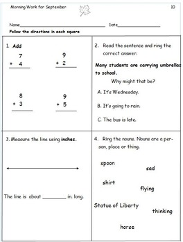 21 Common Core Morning Worksheets for Sept! ELA and Math. Bell Work