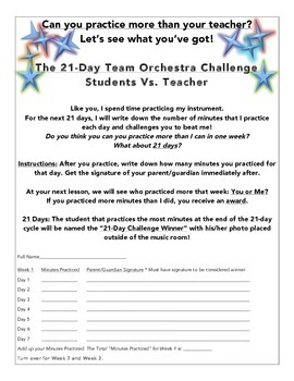 21 Day Student Vs. Teacher Practice Challenge - Editable!