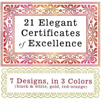 21 Elegant Certificates of Excellence (7 Designs in 3 Colors - printable PDF)