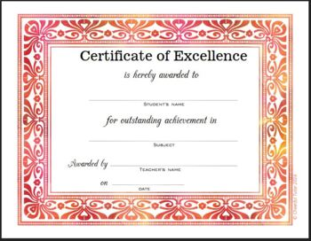 21 elegant certificates of excellence 7 designs in 3 colors