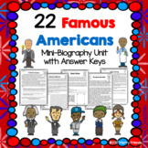 22 Famous Americans - Mini-Biography Worksheets