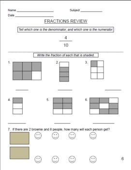 21 Fractions Worksheets