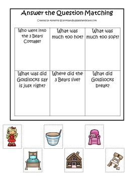 21 Goldilocks and the 3 Bears themed preschool games and worksheets bundle.