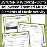 Halloween Music Listening Worksheets