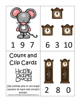 21 Hickory Dickory Dock themed preschool games and worksheets bundle.