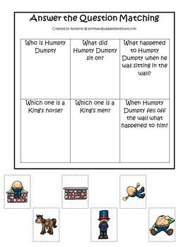 21 Humpty Dumpty themed preschool games and worksheets bundle.