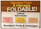 21) Intercepts and Standard Form of a Linear Equation Foldable