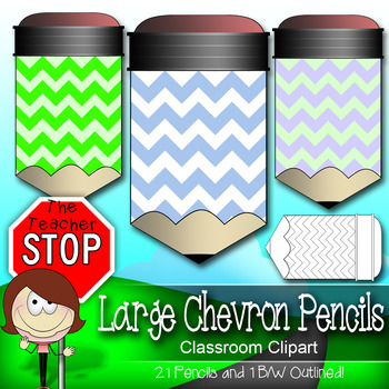 Chevron Pencils - 21 Large Colorful and Outlined Images {The Teacher Stop}