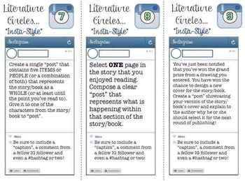 Instagram Task Cards for Literature Circles - 21 Engaging, Interactive Cards