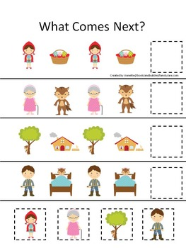 21 Little Red Riding Hood themed preschool games and worksheets bundle.