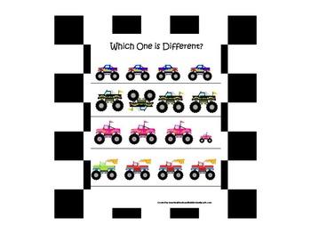 21 Monster Truck themed preschool games and worksheets bundle.