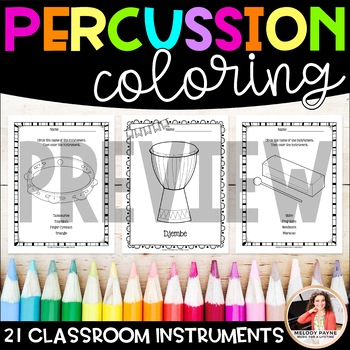 Music Coloring Sheets 21 Classroom Percussion Instruments