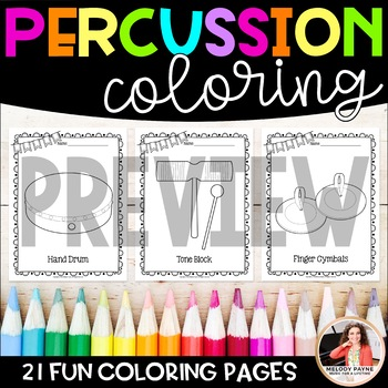 Music Coloring Sheets {21 Classroom Percussion Instruments}