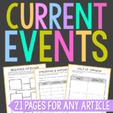 Current Events Activities, Set of 21 Newspaper Worksheets