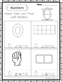 21 Numbers 0-20 Count, Color, Trace Worksheets. Preschool-