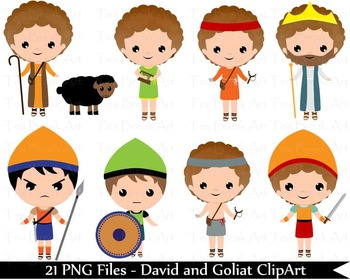 21 PNG Files- David and Goliat ClipArt - Digital Clip Art  132