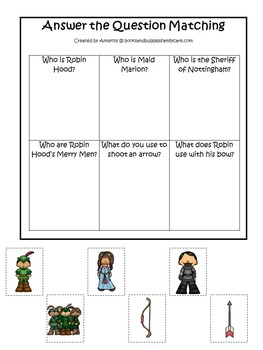 21 Robin Hood themed preschool games and worksheets bundle.