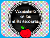 21 School Supply Vocabulary Cards - SPANISH