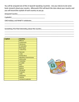 21 Spanish Speaking Countries Handout and Quizzes