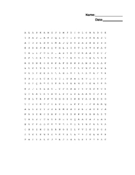 21 State and Capital Word Search