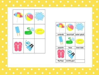 21 Summer Season themed preschool games and worksheets bundle.