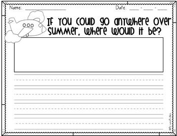21 Summer Writing Prompts/Paper! *100th follower freebie!!*