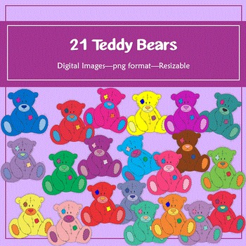 21 Teddy Bears Clip Art: for classroom decoration, parties